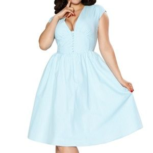BETTIE PAGE NWOT Pinup Blue Gingham Dress - 10